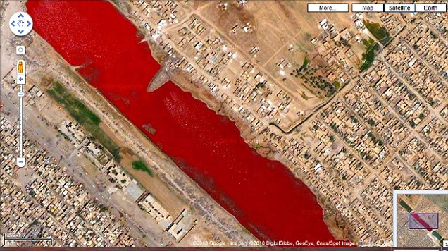 Red alert: A blood red lake outside Iraq's Sadr city