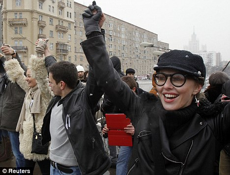 Protests: Ksenia Sobchak attended a protest rally called The White Ring in Moscow last month against Vladimir Putin's return as president