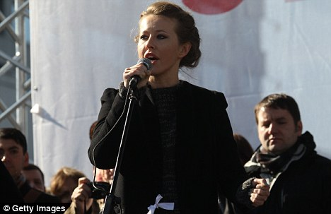 'A new perestroika': Russian opposition activist Ksenia Sobchak speaks to Anti-Putin protesters in a rally last week
