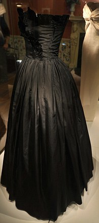 Black silk taffeta gown by Emanuel worn on Diana's first official engagement in 1981