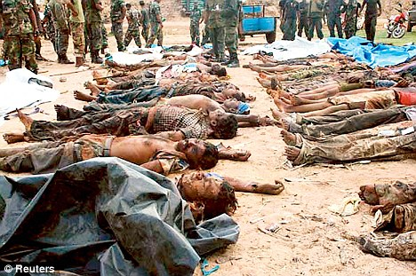 Tamils being killed in Sri Lanka.Image from the daily mail.