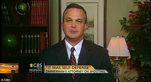 No bias: Speaking on CBS, Zimmerman's attorney Craig Sonner said that the Neighbourhood Watch volunteer isn't racist