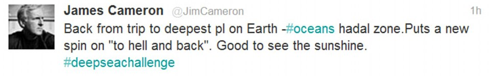 James Cameron's tweet from the bottom