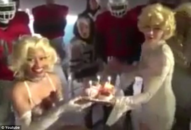 Celebrating: Madonna presented Nicki with a cupcake after a day of shooting the music video for Give Me All Your Luvin'