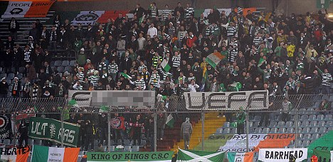 Banner bother: Celtic fans had a message for UEFA at the Udinese game