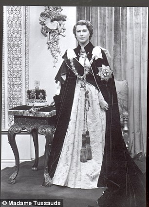 Waxworks Statues and Sculptures of Her Majesty Queen Elizabeth II at Madame Tussaud's in London, 1956