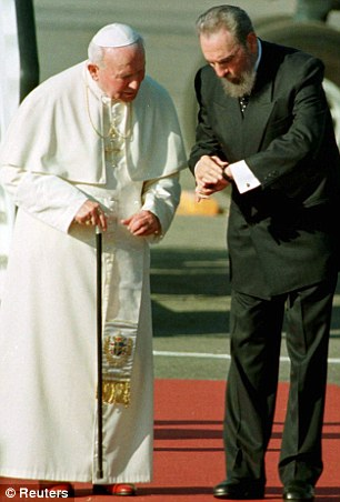 Historic meeting: Fidel Castro welcomes Pope John Paul II to Havana in 1998, a visit that significantly improved relations between the Catholic Church and Cuba