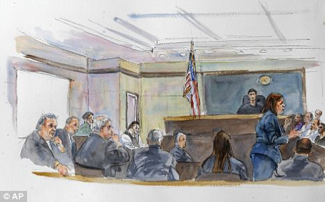 Landmark case: This courtroom sketch shows the Rev. James J. Brennan, second left, and Monsignor William Lynn, third left at as Assistant District Attorney Jacqueline Coelho, standing right, speaks to the jury earlier this month
