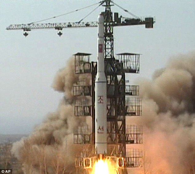 Earlier launch: A rocket lifts off from Musudan-ri, North Korea, in 2009