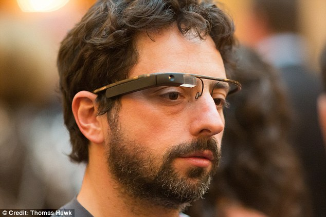 Prototype: Google co-founder Sergey Brin was spotted wearing Google Glasses at a charity event in San Francisco yesterday.