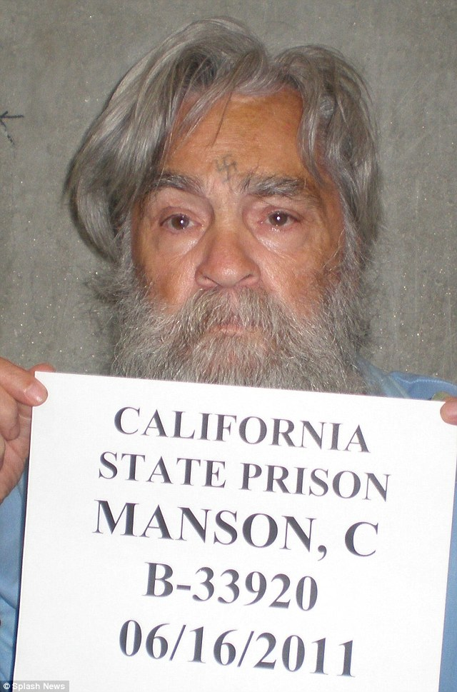 Chilling: This photograph of renowned serial killer Charles Manson has been released by Californian prison officials ahead of the killer's twelfth parole hearing on Wednesday