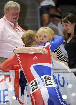Chris Hoy is congratulated by his mother Carol