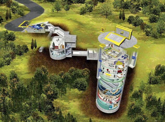 One of the designs for Larry Hall's Doomsday bunkers, showing how the condos will stretch deep underground and potentially protect the last remnants of humanity