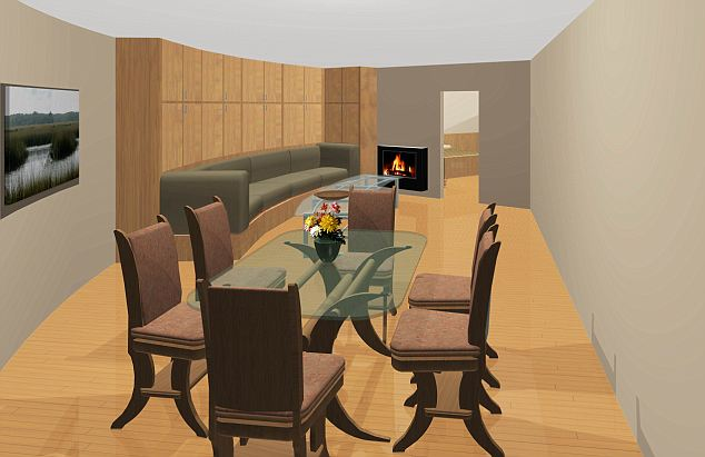 The warm living room features a fireplace - all the better to curl up by if the world outside is going down in flames