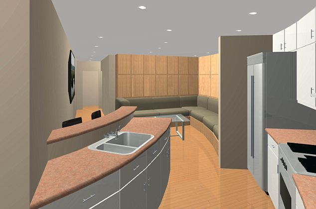 The open kitchens have all the conveniences of modern life and the ceilings have built-in lights. There is a breakfast bar