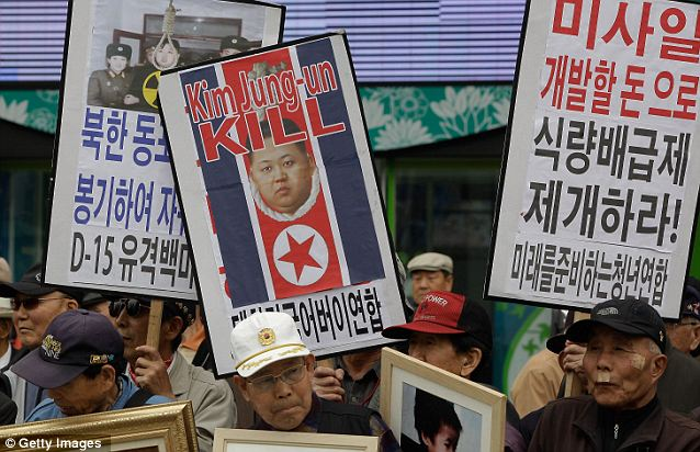 Anger: Demonstrations were held in Seoul, South Korea, over the launch