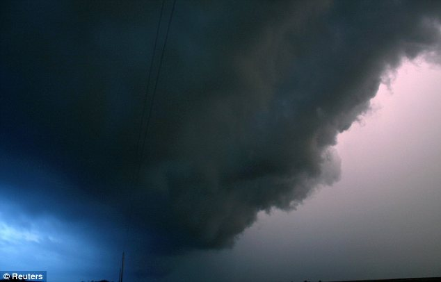 Ominous: The skies over Nebraska hinted at the extreme weather expected to hit the Midwest this weekend