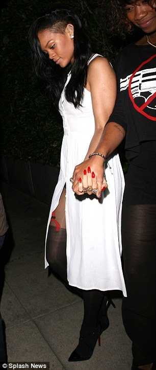 Dinner date: Rihanna wore the sexy outfit for a meal at the Giorgio Baldi restaurant in Santa Monica