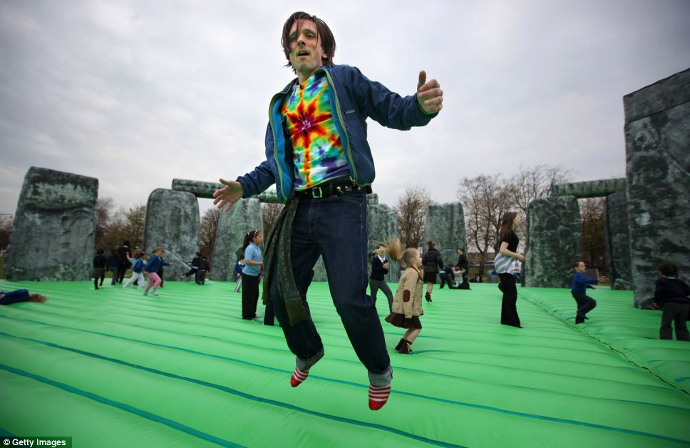 Artist Jeremy Deller has a go on his installation in Scotland