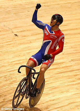 Good Hoy: Sir Chirs celebrates his victory in the World Championship Keirin