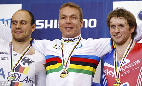 Still got it: Chris Hoy (centre) with his World Championship gold medal