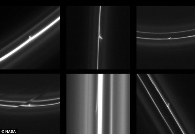 Cassini has captured amazing images of snowballs punching through Saturn's F ring