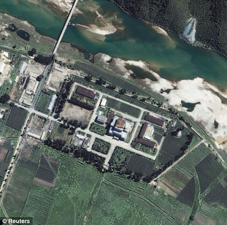 A satellite image of the Yongbyon nuclear facility, 62 miles north of Pyongyang, taken in 2002 where North Korea carried out an underground nuclear test in 2006