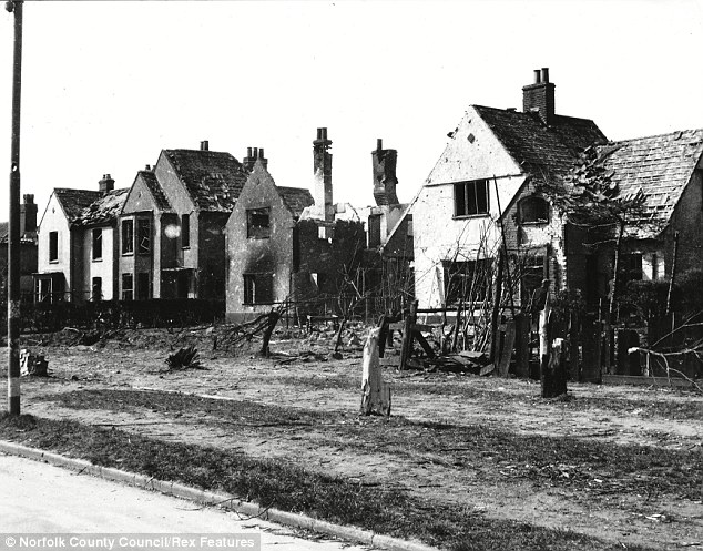 Aftermath: A row of bomb-battered houses in The Avenues shows the damage done by the bombing raids