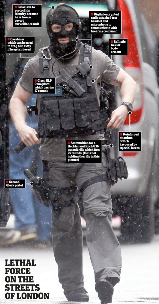 The face of modern policing: This picture shows the specialist combat gear worn by the armed police units responding to the siege in central London yesterday