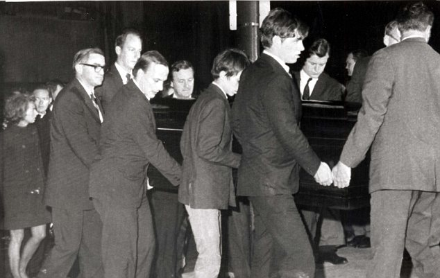Tragic: Robert F Kennedy's casket arrives at St Patricks Cathedral, New York, for his funeral