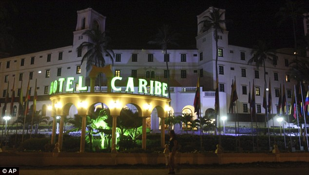Exposed: The incident became public on April 12 when Miss Suarez argued with a Secret Service agent over her payment in a hallway of the Caribe Hotel, pictured