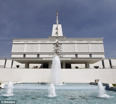 A view of the Temple of the Church of Jesus Christ of Latter-Day Saints