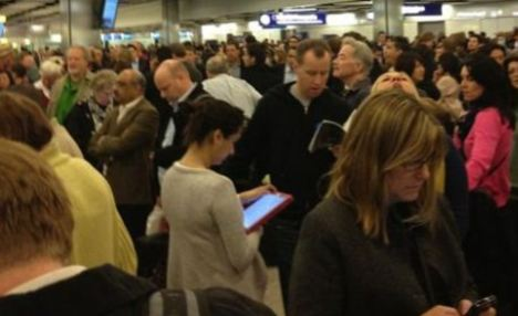 Long wait: Passengers vented their fury at being stuck in queues at Heathrow Terminal 5's passport control (file photo)