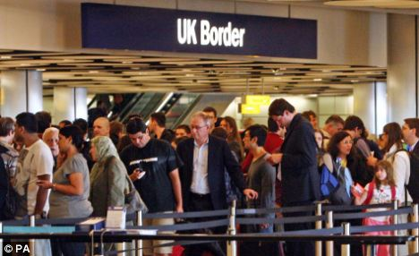 Paralysis: The head of the UK's Border Force Brian Moore was asked how he would react if there were four-hour queues during the Olympics. He replied: 'So be it'