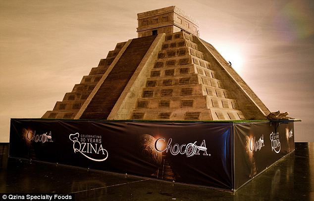 A delicious place of worship: Qzina specialty foods have broken the record for the world's largest chocolate sculpture with a replica of the Kukulcan temple at Chichen Itza in Mexico