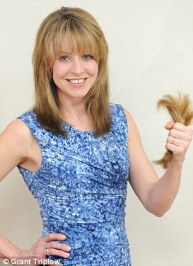 It's a snip: Alice, before, left, and after, right, her DIY haircut