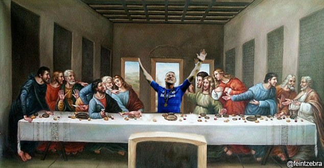 Worship me: The England defender takes the place of Jesus at the Last Supper as the disciples look on in awe