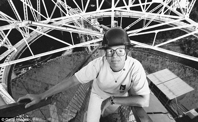 Anybody out there? Dr Tarter on a platform 500ft above the huge radio telescope dish where she directs the search for signs of civilization in outer space