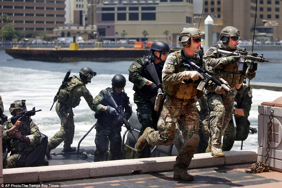 The SOF demonstrate their combined combat capabilities outside the Tampa Convention Center