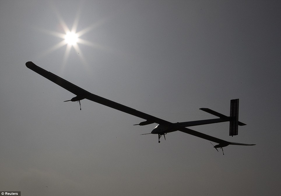 Giant: The Solar Impulse has 12,000 solar cells built into its 64-metre wings - the plane has already proved it can fly overnight with power gained during the day
