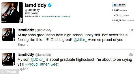 Proud dad: The rap mogul tweeted his excitement over the big day