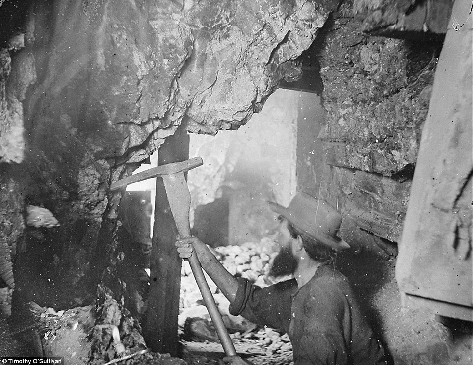 Silver mining: Here photographer Keith O'Sullivan documents the actvities of the Savage and the Gould and Curry mines in Virginia City, Nevada, in 1867