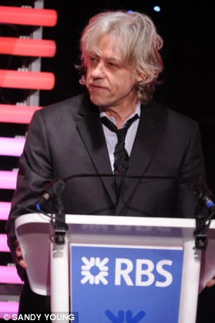 Bob Geldof at a business awards ceremony. He was at a Super Return International Investment conference recently asking for mega-bucks