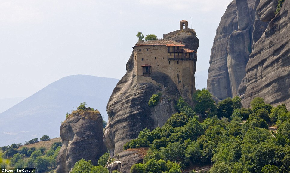 Up on high: The Holy Holy Monastery of Saint Nicholas Anapausas in Meteora, Greece, which was built in the 16th Century and decorated by the Cretan painter Theophanis Strelitzas in 1527