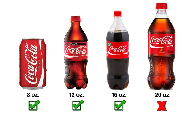 What's allowed: The ban will allow New Yorkers to still order 8oz cans (left), 12oz bottles (center left), 16oz bottles (center right), but not 20oz bottles (right) in restaurants, sports stadiums and movie theaters