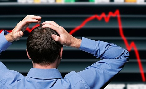 Tumbling price: The stock market has dived into the red and suffered its worst month in more than three years