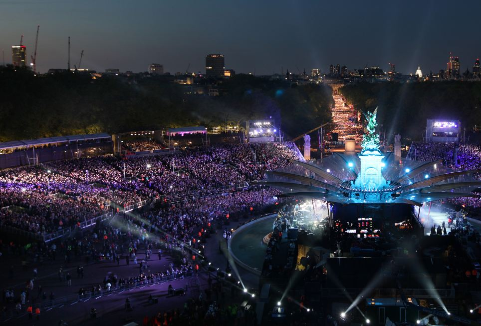 Doing Britain proud: The setting of the concert was a spectacle in itself and the weather held out to turn into a fine evening to celebrate The Queen's 60 years on the throne
