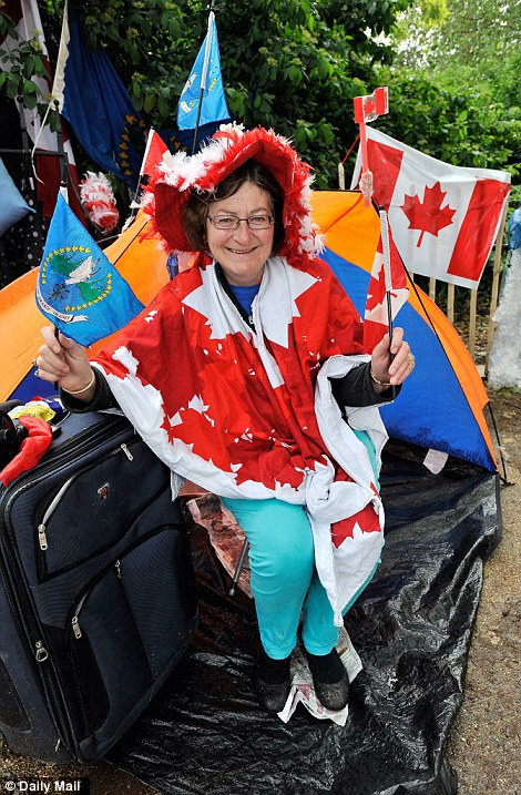 Canadian Bernatte Christie, who camped overnight ready for the concert