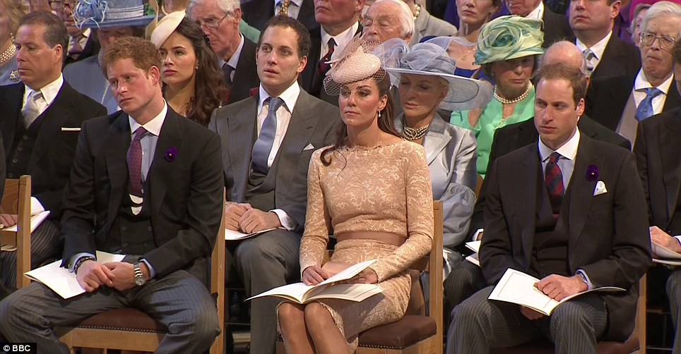 A more formal setting for the prince and the Duke and Duchess of Cambridge after the Jubilee concert last night