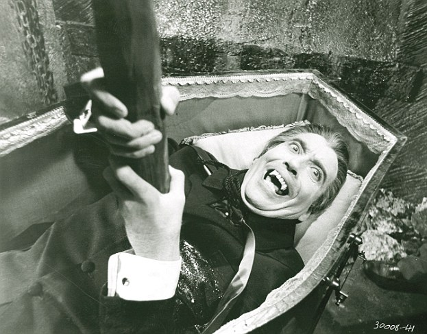 Movie legend: Christopher Lee as Count Dracula gets his comeuppance with a stake through the heart in the 1958 film Dracula
